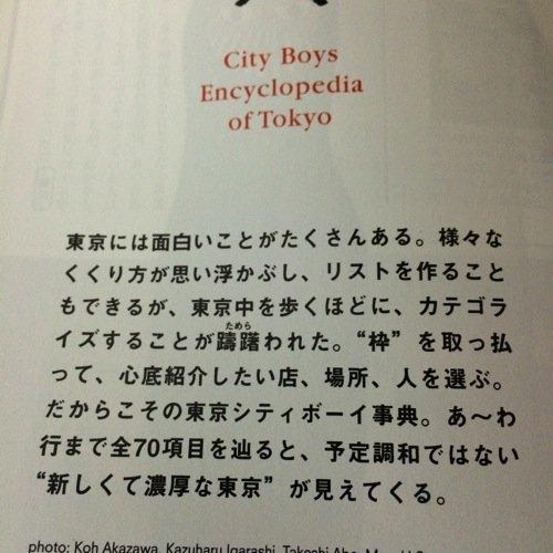 東京シティボーイ辞典リード。